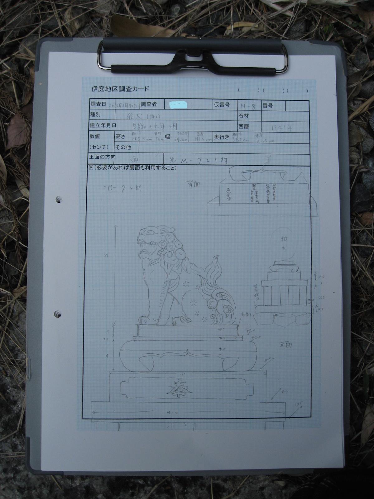 繖山石造物調査の調査票